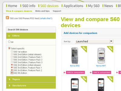 s60 device selection